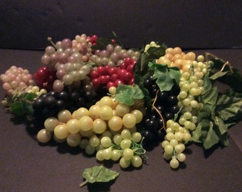 Vintage Rubber Faux Grape Clusters Lot of 22 Bunches