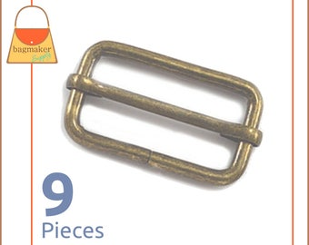 "1.5 Inch Moving Bar Purse Strap Slides, Antique Brass / Bronze Finish, 9 Pieces, 1-1/2"", 1-1/2 Inch, Handbag Purse Hardware, BKS-AA035"