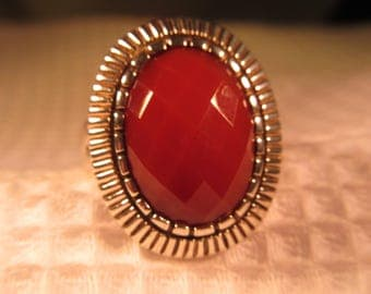 Cool Retro Sterling Silver Red Gemstone Ring - 9