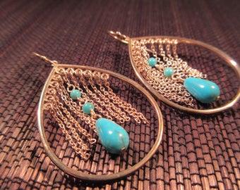 Tribal Sterling Silver Turquoise Earrings