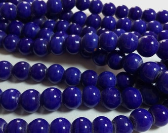 50pcs Dark Blue Glass Beads 8mm - Jewelry Making Supplies - BPGL-183