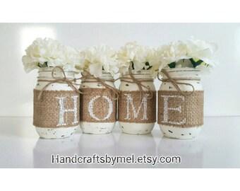 Burlap Mason Jars, Rustic Home Decor, Mason Jar Table Decor, Mason Jar Planter Jars, Distressed Mason Jars, Farmhouse Decorations, Burlap