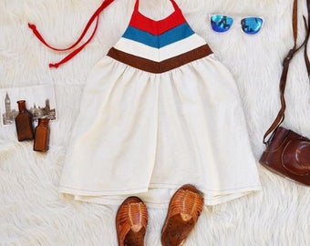 Blue and Red Stripe Dress