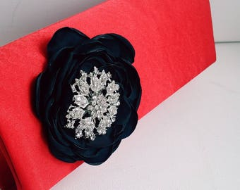 Red and Black  Bridal Clutch with Rhinestone ~ Wedding Clutch, Bridesmaid Clutch ~ Bouquet Clutch- Evening Bag ~ Mother of the Bride, Prom