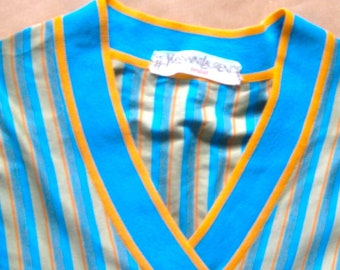 Yves Saint Laurent Tricot # striped long summer-shirt # made in France # size S