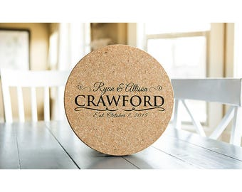 Personalized Jumbo Cork Trivets - 4 Trivets - Crawford Style