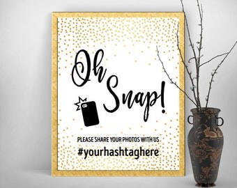 """Instagram Hashtag Sign, Printable Party Decoration, 8x10"""" Poster - Gold Confetti Dust - DIY Print, Printable Digital File - #GCD"""