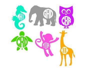Animal Monogram Decal / Monogram sticker / laptop decal / car decal / circle monogram / personalized decal / elephant decal / monkey decal