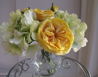 Finest Elegant Beautiful  Silk Flower Arrangement -yellow roses and Green hydrangea in glass vase with Faux Water