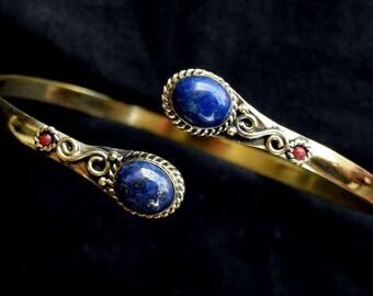 Arm Cuff, Armlet, Gypsy Armlet, Bohemian Armlet, Upper Arm Cuff, Arm Bracelet, Armcuff Bracelet , Brass Armlet , Lapis Lazuli Armlet