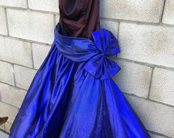 Vintage 80s metallic Blue lame strapless Wild Child prom party dress tulle