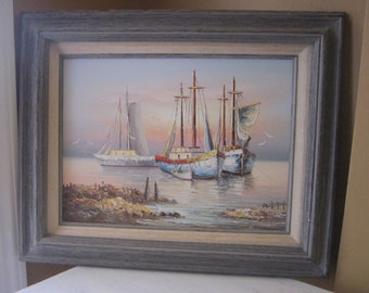 Vintage Painting, B Wilder Oil painting, Canvas, Sailing Ships, Nautical Seascape, Ships in the Harbor