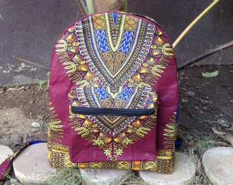 African Wax Zussu Backpack 'Dashiki Burgundy'