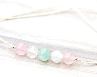 Wish Bracelet - Fertility Bracelet - Hemp Bracelet - Trying To Conceive - IVF - Aquamarine Bracelet - Moonstone Bracelet - Rose Quartz