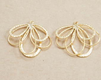Flower Cascading Pendant, Cascasding Leaf Pendant, Jewelry Supplies, Handmade Jewelry, Matte Gold Plated over Brass - 2 Pieces-[AP0021]-MG