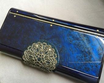 Vintage Wilardy Navy Blue Lucite Clutch..Mid Century Modern Marbled Blue Lucite Purse...Hollywood Regency Retro Handbag...