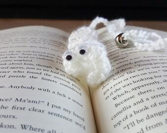 """White book mark """"bookworm"""""""