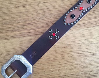 "Brown leather studded western belt ""maltese cross"""