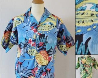 Small mans/boys tropical hawaiian shirt mans holiday party shirt bananas shirt size small