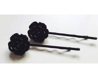 Black rose hair pins, black rose accessory, black rose hairgrips, black rose bobby pin, gift for her, party bag gift, party bag filler