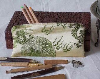 Chinese brocade pencil case pale yellow/olive green (dragon & good luck horse design) 21x10cm/8.25x4in