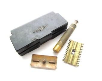 Antique Brass Gillette Shaving Razor, Straight Razor with Case!