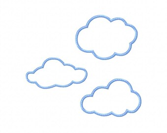 Baby Applique Machine Embroidery Design Plain Clouds