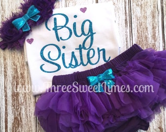 Little Sister Big Sister Outfit Baby Clothes Promoted to Big Sister Optional Leg Warmers Tutu Headband Purple and Teal Glitter Announcement