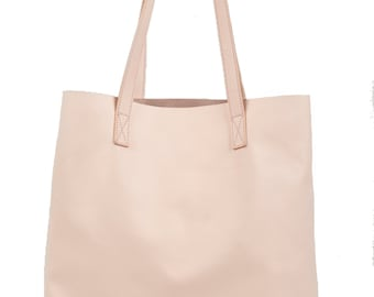 Blush Pink Leather Tote