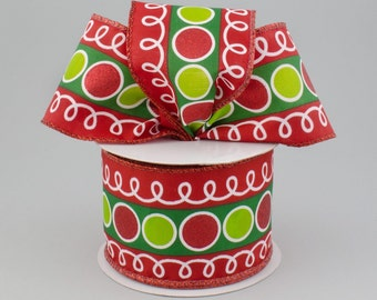 "2.5 "" Red Lime Green Ribbon RW7050YH , Christmas Ribbon, Red Green Diamond Ribbon, Wired Ribbon -  Wreath Supplies: - (10 Yards) - RW7050YH"