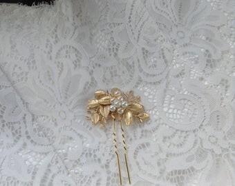 Gold Bridal Hairpin, Crystal, Pearl Hairpin, Gifts for Her, Gold Leaf Hairpin, Bridal Hairpin, Boho Hairpin, Hairpin 5 (G)