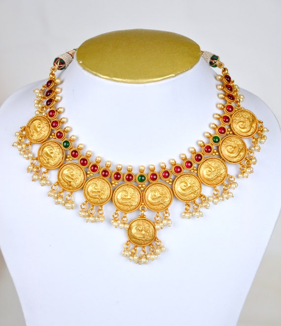 Antique nagas necklace in red and green with pearl kaasu malai design| Indian Jewelry | Indian necklace | temple jewelry temple neckla
