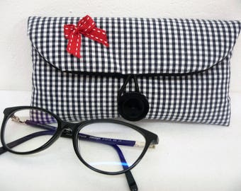 Glasses case black and white gingham fabric