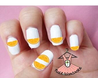 30 Orange Nail Decals
