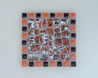 Orange Paisley Mosaic Coaster