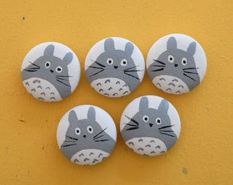 Totoro Fabric Button Flat Back Buttons My Neighbor Totoro Handmade Fabric Buttons Covered Buttons Flat Back Button Covers Handpainted Totoro