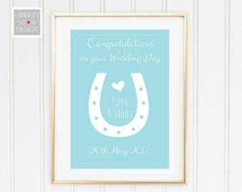 Horseshoe Personalised Wedding Day Print. Wedding Gift, Personalised Print, Home Decor, Anniversary Gift