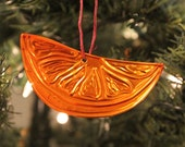 Handmade Copper Ornament Orange Slice Fruit Ornament Christmas Ornament