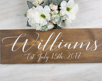 Bridal Shower Gift- Personalized Wedding Gift- Rustic Wedding Decor- Gift for Bride - Wedding Gift- Rustic Wedding Signage- Last Name Sign