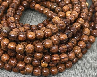 Round Bayong Wood Beads, Waxed Wooden Beads, Natural Brown Bayong Beads with Red Hue, Wooden Mala Beads, 6mm - 70 beads (W6-25)