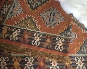 RESEVED Large Vintage Wool Southwest Navajo Rug Tribal Bohemian Textile Geometric Turkish Kilim