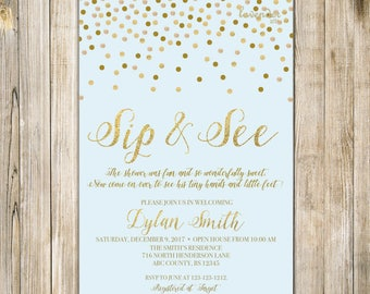 PINK SIP and SEE Invitation, Gold Confetti Pink Sip & See Party Invite, Meet and Greet Open House, Baby Girl Shower, Printable Digital LA20