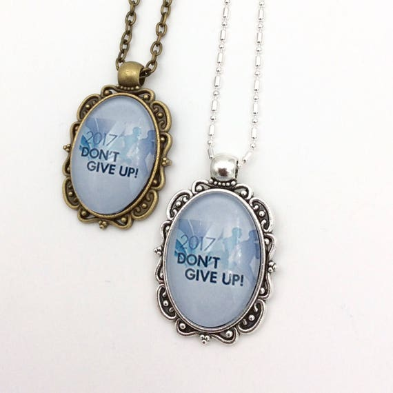 "JW Antique Brass or antique silver finish Pendant ""Don't Give Up"" Blue Velvet Gift Bag Included!"