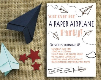 Paper Airplane Party Invitation