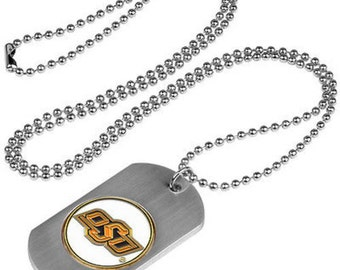 Oklahoma State Cowboys Stainless Steel Dog Tag Necklace
