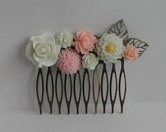 Vintage Inspired Antique Bronze Pink Tones Flowers Hair Comb Bridal Prom