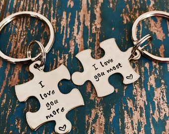 I love you more I love you most Puzzle Piece Key Ring Set - Her One - His Only - Valentine's Day - Boyfriend Gift - Anniversary - Engagement