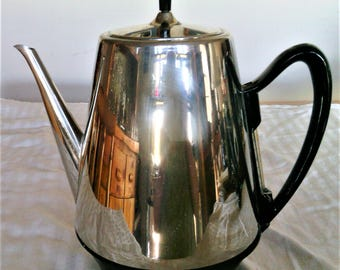 Vintage Retro Chrome Electric Coffee Percolator By General Electric