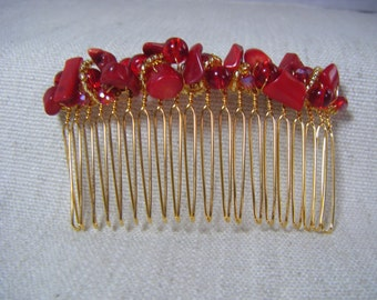 Red coral hair comb