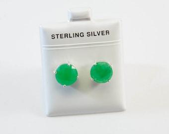 Large Round-Shaped Jade Stud Earrings
